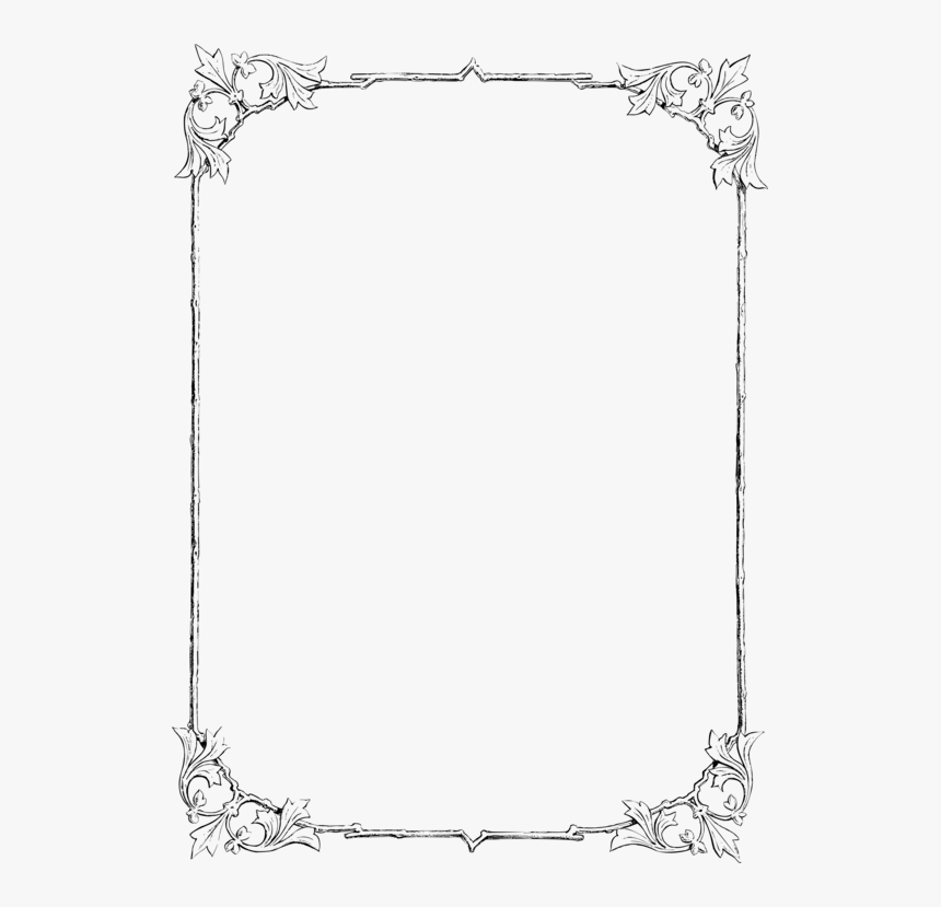 Picture Frame,rectangle,borders And Frames - Border In Line Drawing, HD Png Download, Free Download