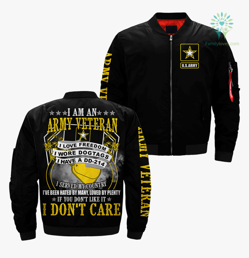 I Am An Army Veteran I Love Freedom I Wore Dogtags - Leather Jacket, HD Png Download, Free Download