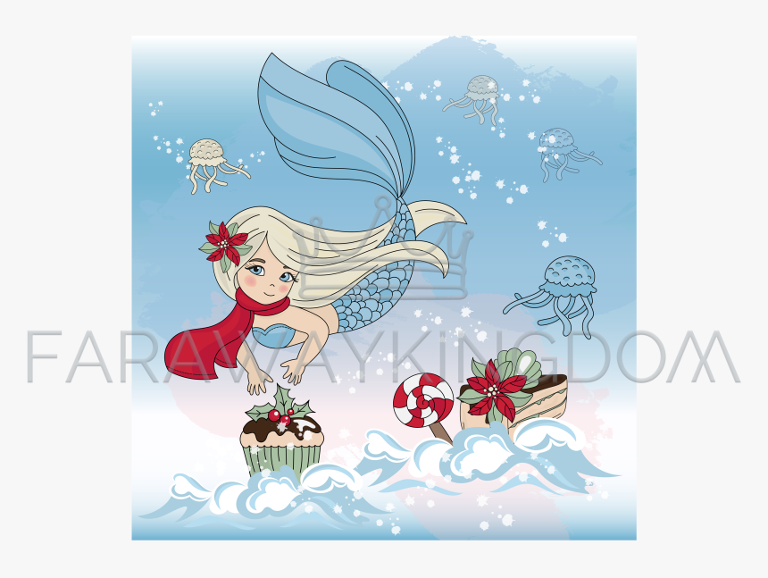 Merry Christmas Cartoons Mermaid, HD Png Download, Free Download