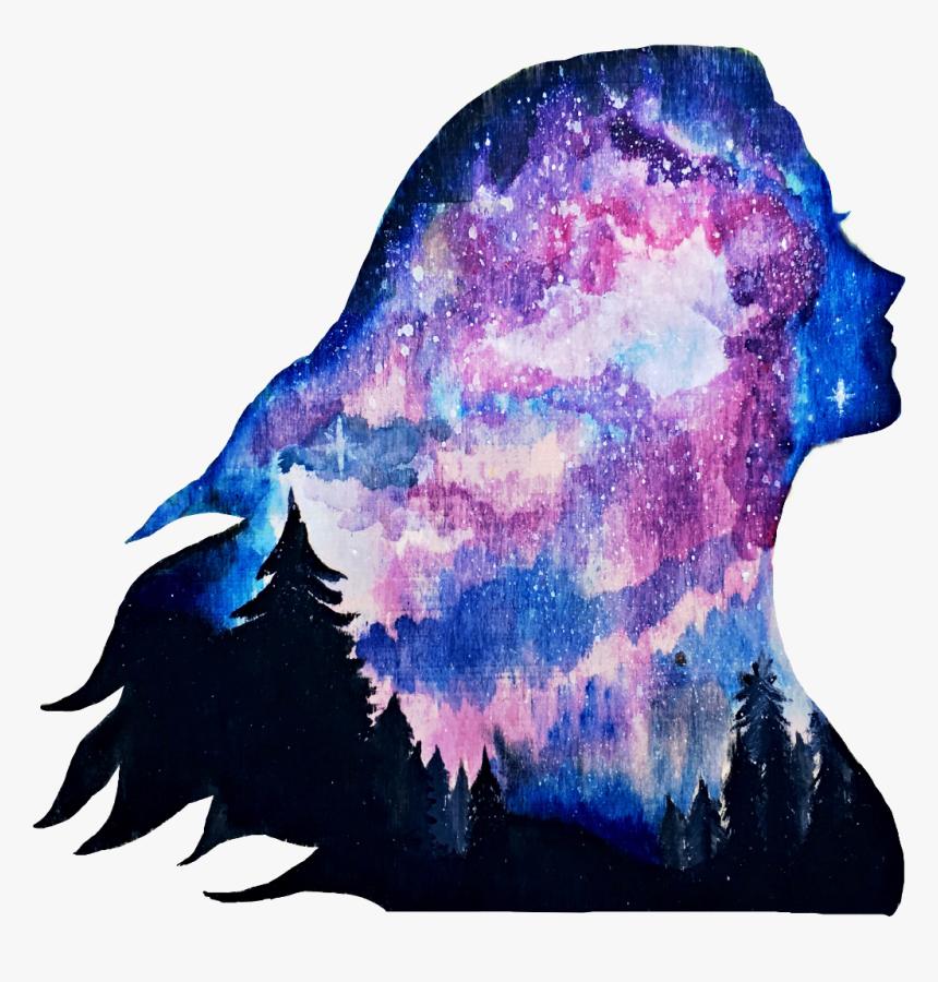 Galaxy Artwork Trees Sky Stars Tumblrgirl Freetoedit - Oil Pastel Drawings Of Galaxy, HD Png Download, Free Download