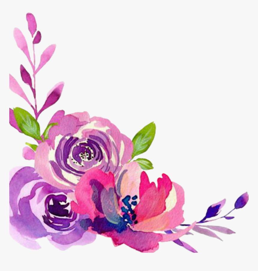 Flower Border Wallpaper Desktop Watercolor Design Floral - Watercolor Flower Border Transparent, HD Png Download, Free Download