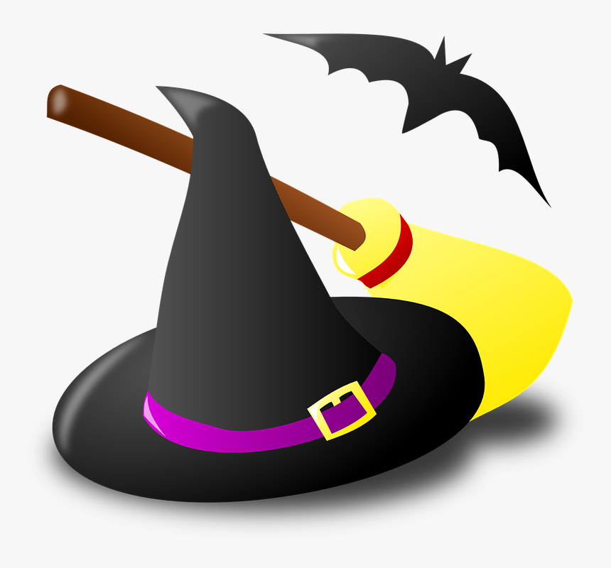 Witch, Witchcraft, Broom, Halloween, Hat, Bat - Witch Hat And Broom Clipart, HD Png Download, Free Download