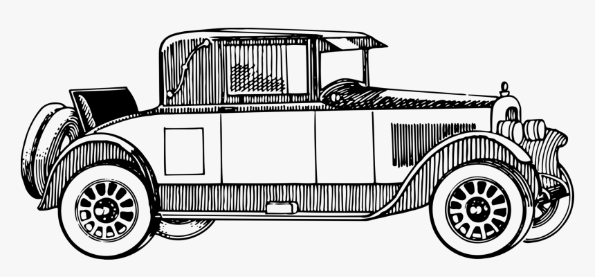 Classic Car,antique Car,compact Car - Vintage Car Clipart Black And White, HD Png Download, Free Download