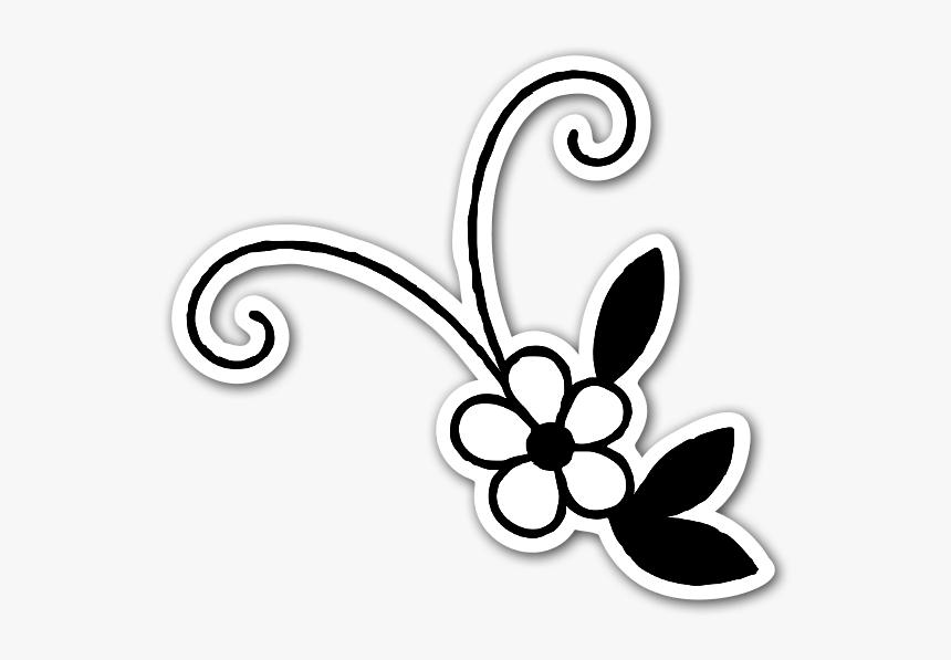 Cute Black And White Flower Sticker - Flor Preto E Branco Png, Transparent Png, Free Download