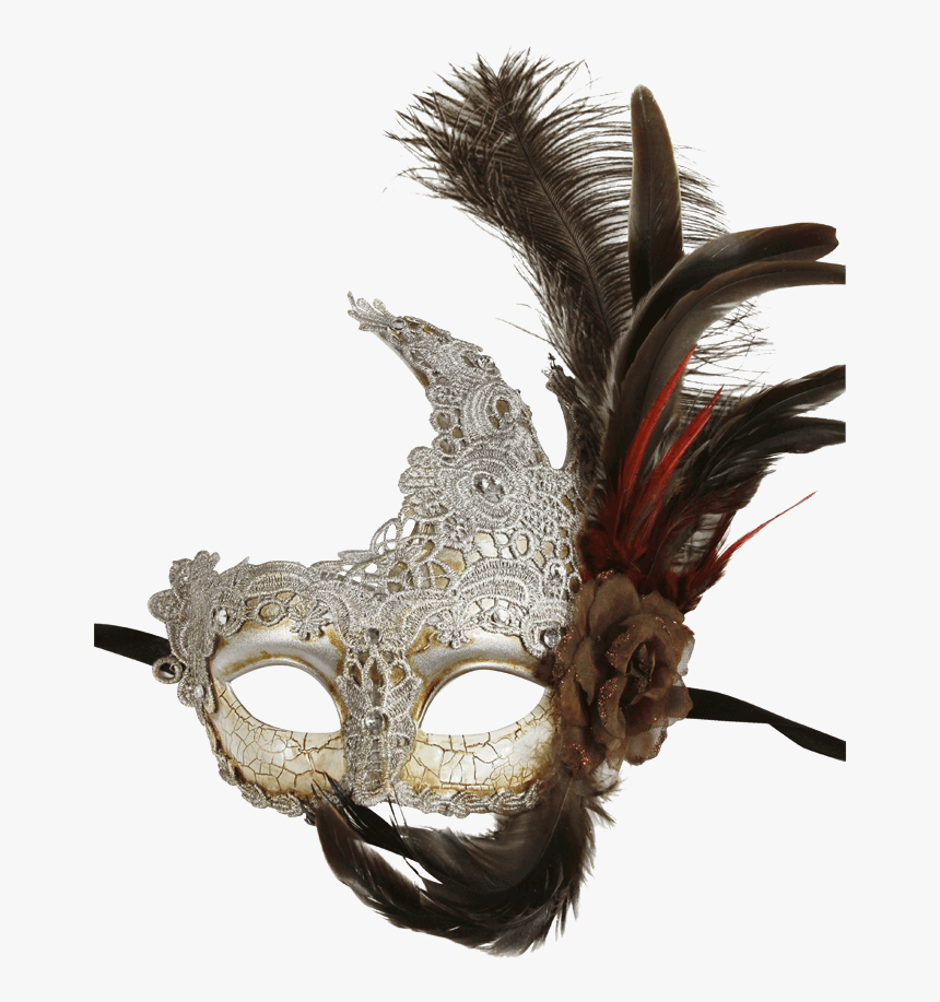 Feathered Silver Lace Masquerade Mask - Mask, HD Png Download, Free Download