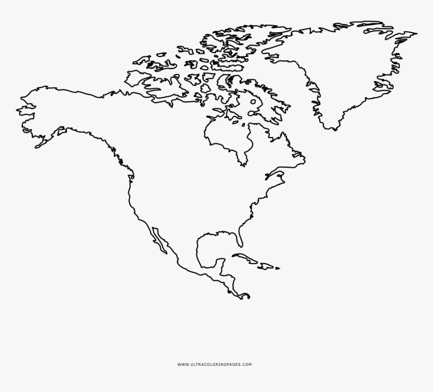 North America Coloring Page Outline Map Of Usa Canada Map