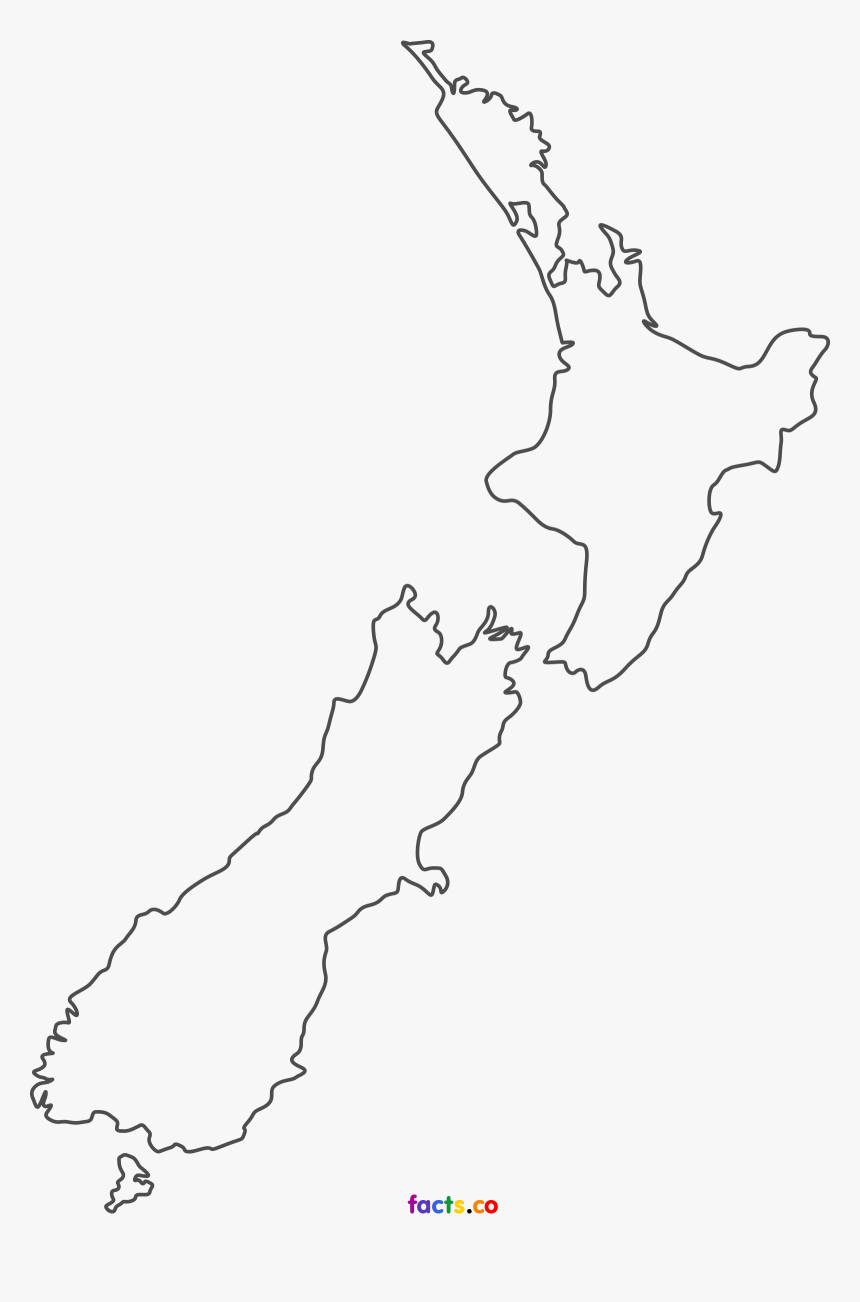New Zealand Map Outline Outline New Zealand Map, HD Png Download   kindpng