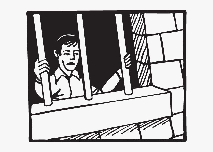 Man Behind Bars Cartoon - Man Behind Bars Drawing, HD Png Download, Free Download