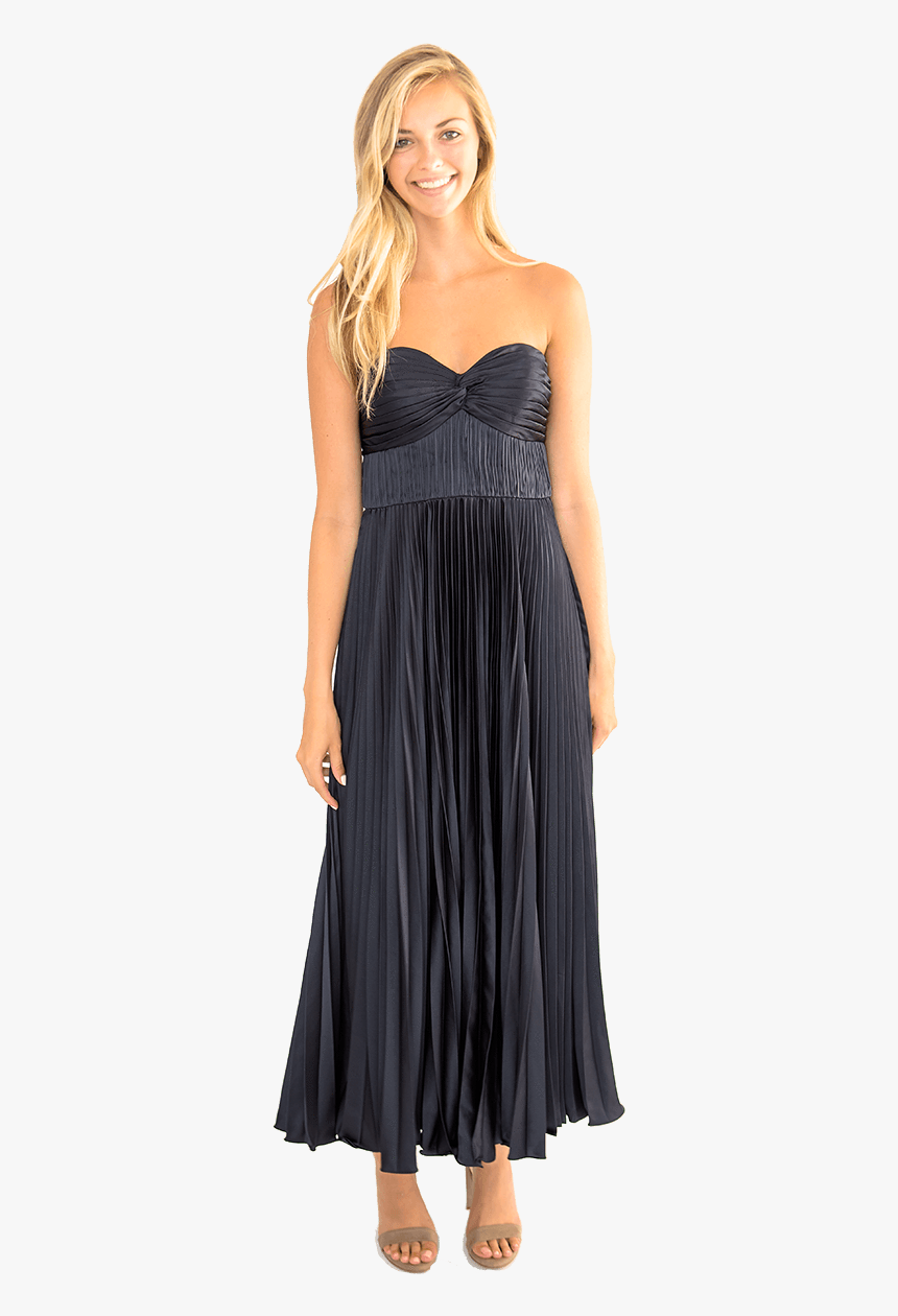 Belle Pleated Strapless Gown - Amur Belle Dress Navy, HD Png Download, Free Download