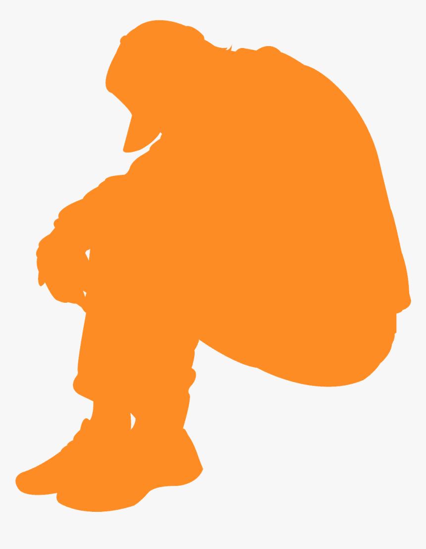 Silhouette Of Kneeling Man , Transparent Cartoons - Sad Man Silhouette Png, Png Download, Free Download