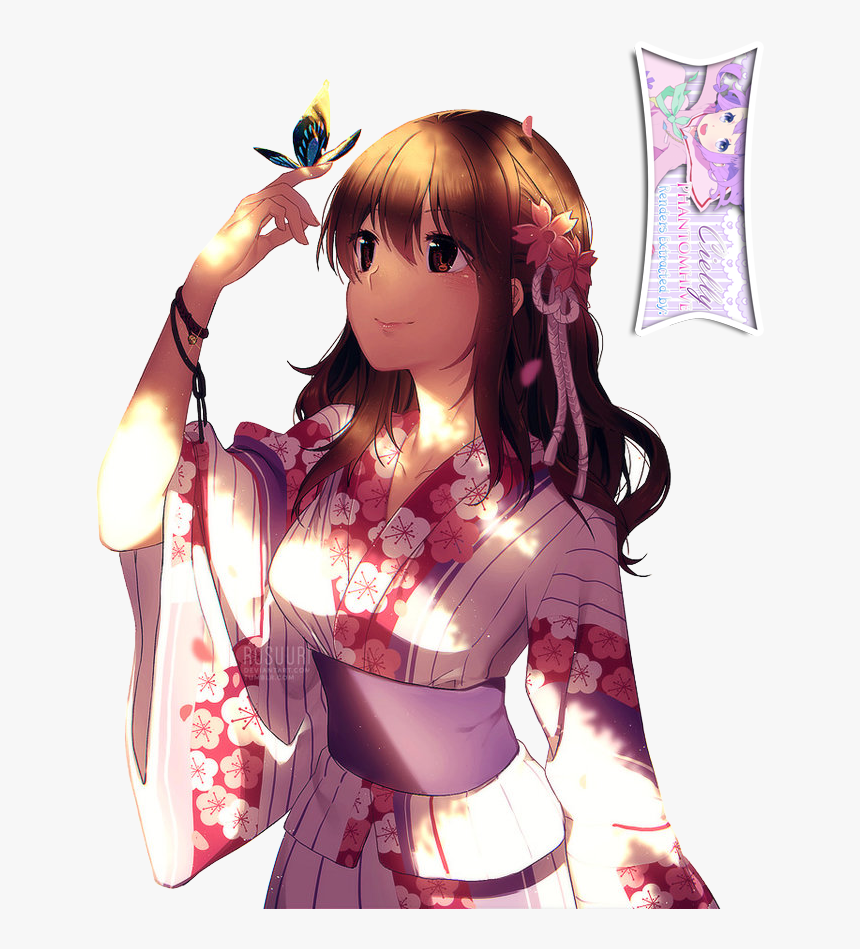 Clip Art Cute Anime Girl And - Cute Anime Girls In Kimono, HD Png Download, Free Download