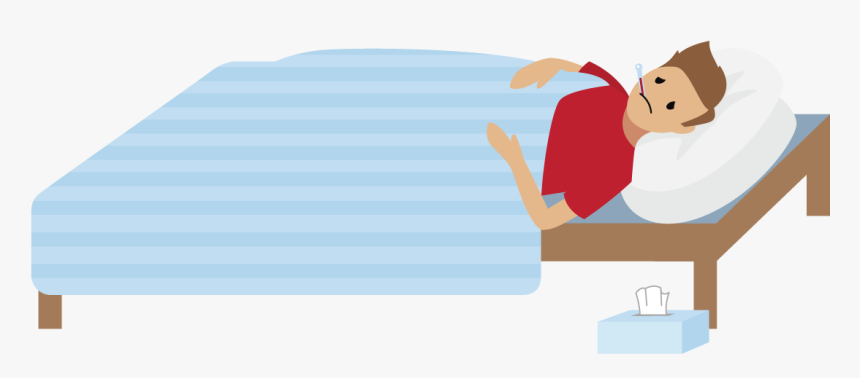 Person Looking Sick Lying In Bed - Sick Person Cartoon Png ...