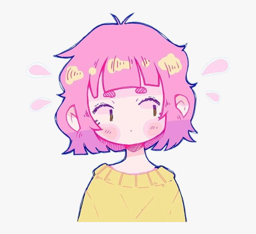 #freetoedit #cute #kawaii #girl #anime #manga #pink - Cute Animé Girl With Pink Hair, HD Png Download, Free Download