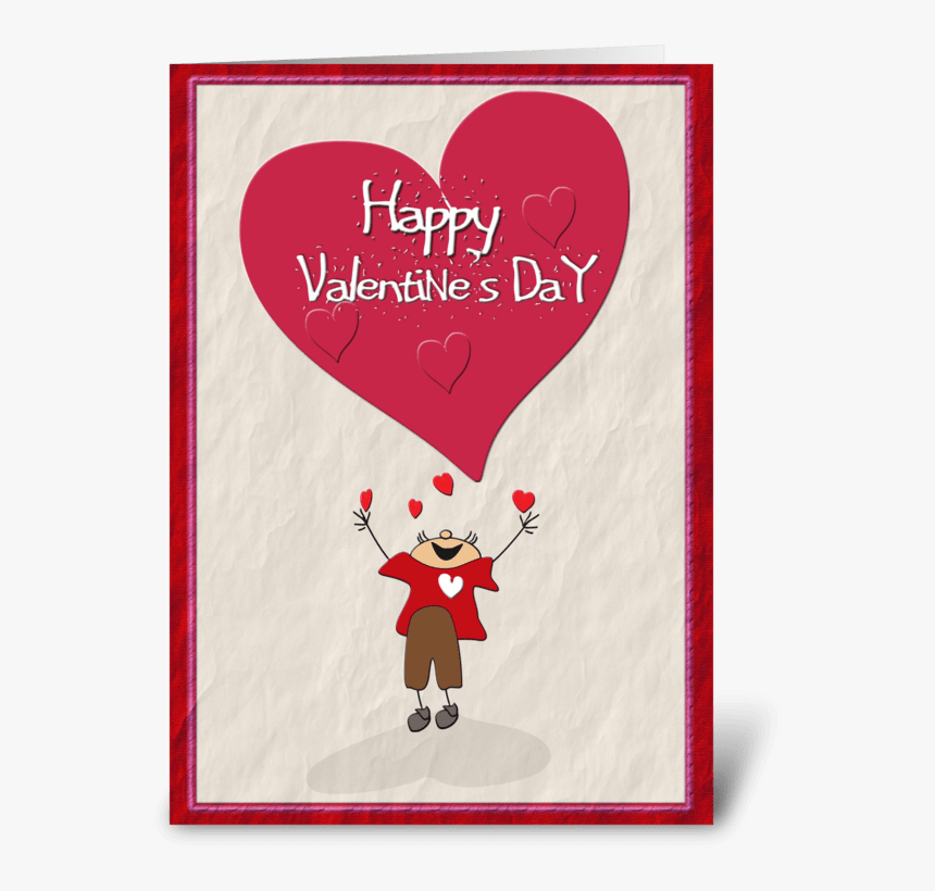 """Happy Valentine""""s Day, Big Heart Greeting Card - Cartoon, HD Png Download, Free Download"""