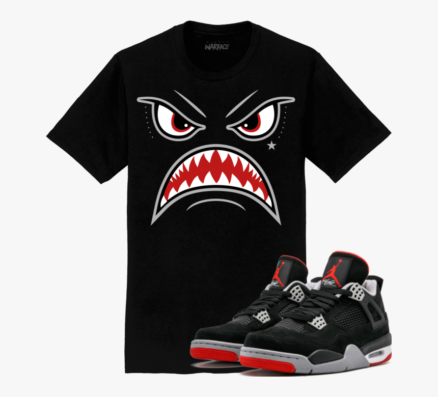 Jordan Retro 4 Bred 2019 Sneaker Tees Shirt Bred Warface - Jordan 11 Cap And Gown Shirt, HD Png Download, Free Download