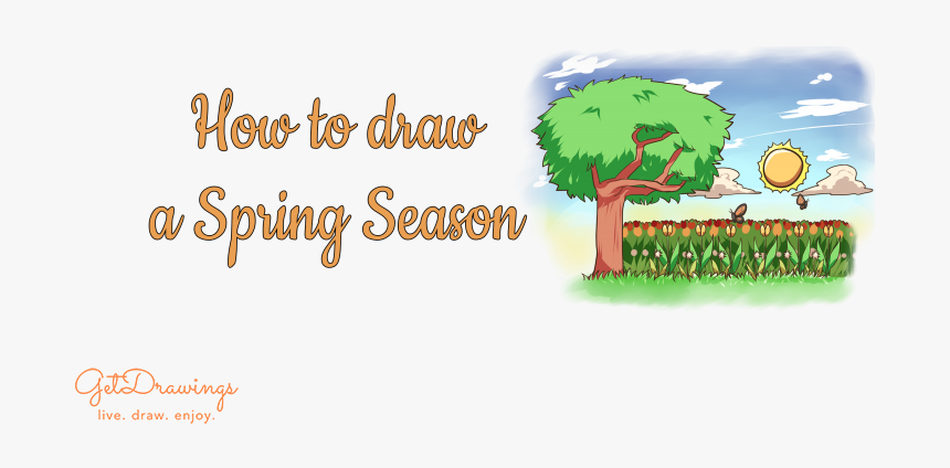 How To Draw A Spring Season - Illustration, HD Png Download, Free Download