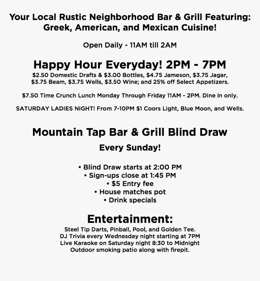 Your Local Rustic Neighborhood Bar & Grill Featuring - Main Instruments Of Credit Control, HD Png Download, Free Download