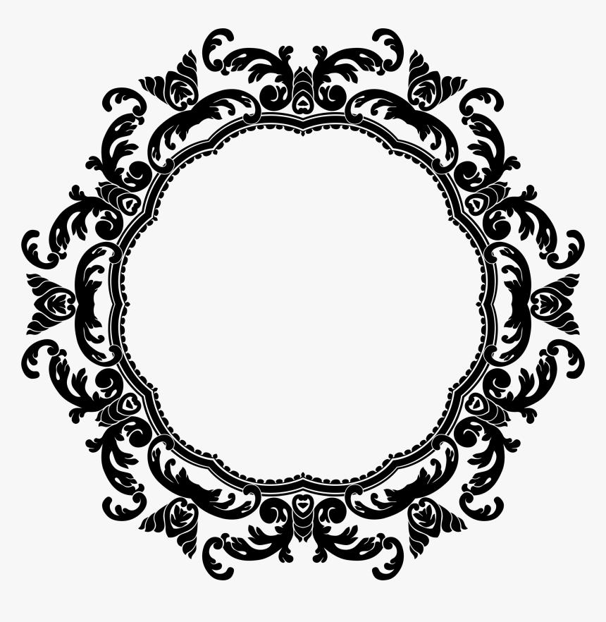 Floral Circle Border Png Image - Round Design Black & White Png, Transparent Png, Free Download