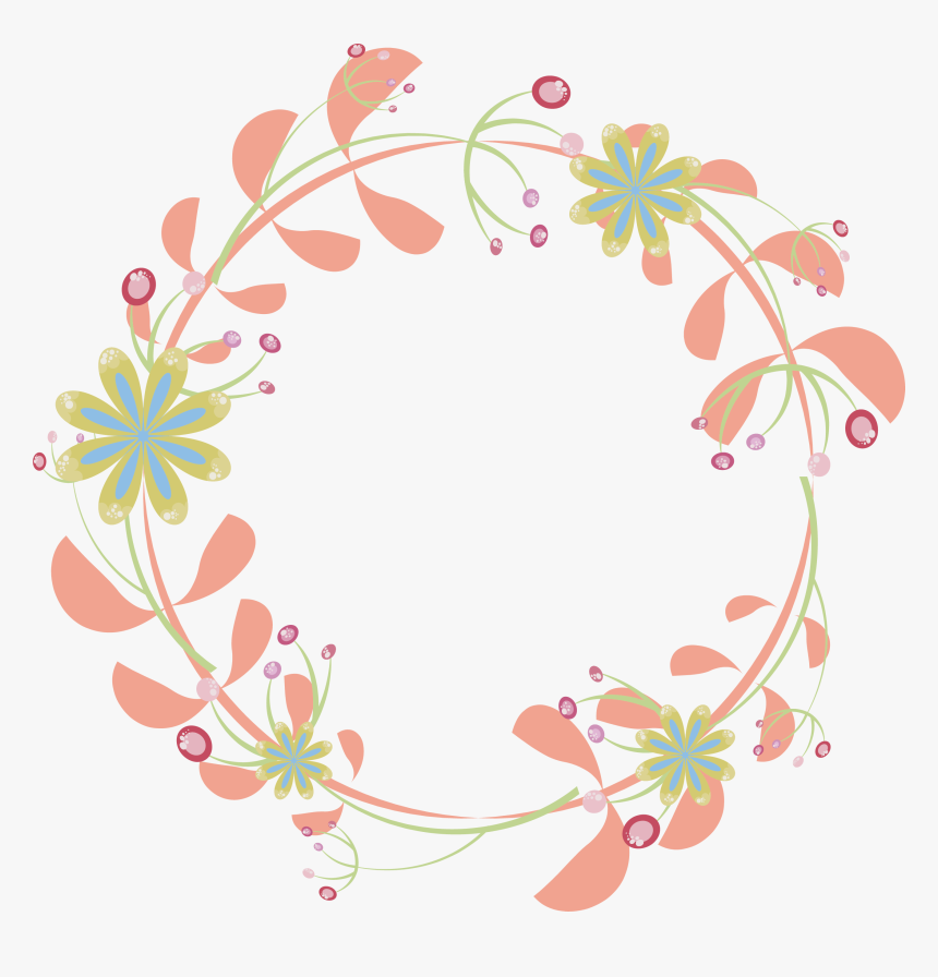 Border Flowers Pink Rattan Round Transprent Png - Round Flower Border Png, Transparent Png, Free Download
