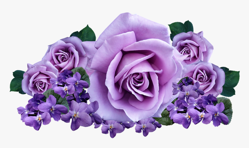 Roses, Violets, Flowers, Arrangement, Cut Out, Isolated - Roses Violets, HD Png Download, Free Download