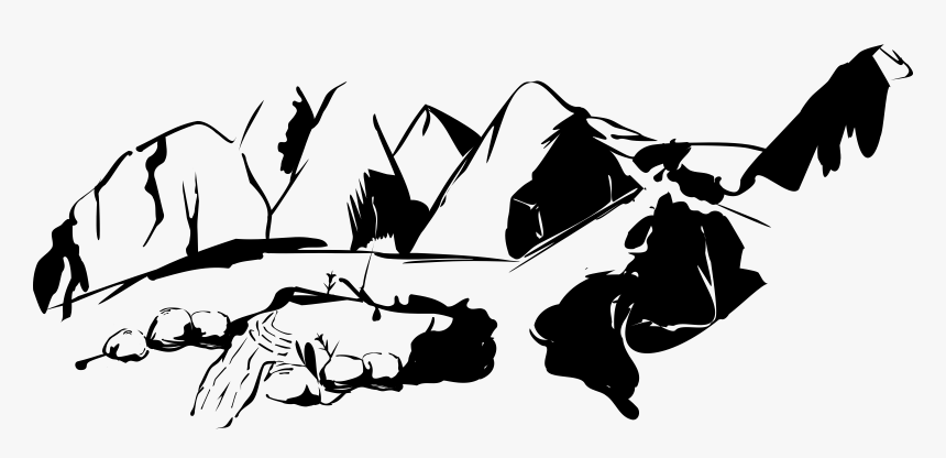 Mountains With Road Big - Black And White Png Mountain, Transparent Png, Free Download