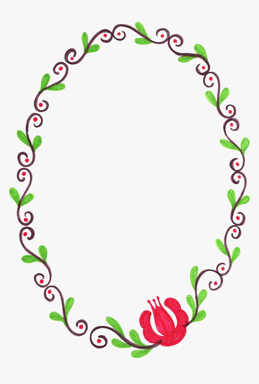 Flower Oval Frame Png, Transparent Png, Free Download