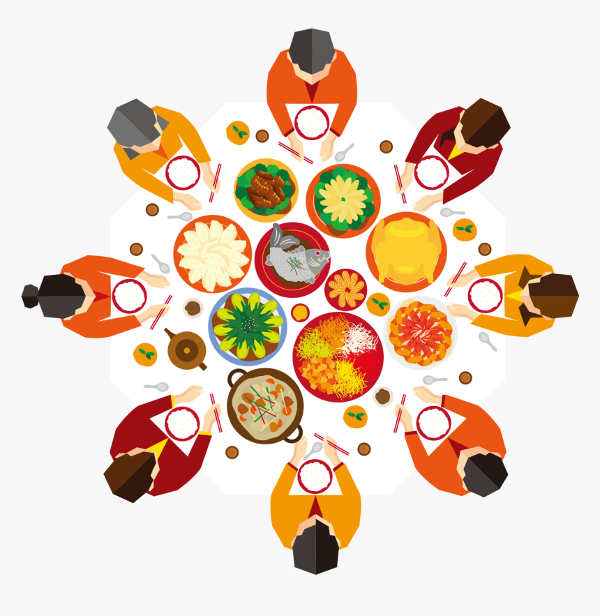 Chinese New Year Reunion Dinner Illustration - Chinese New Year Dinner Vector, HD Png Download, Free Download