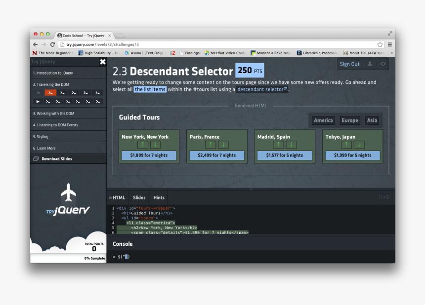 Codeschools Jquery Class - Jquery, HD Png Download, Free Download