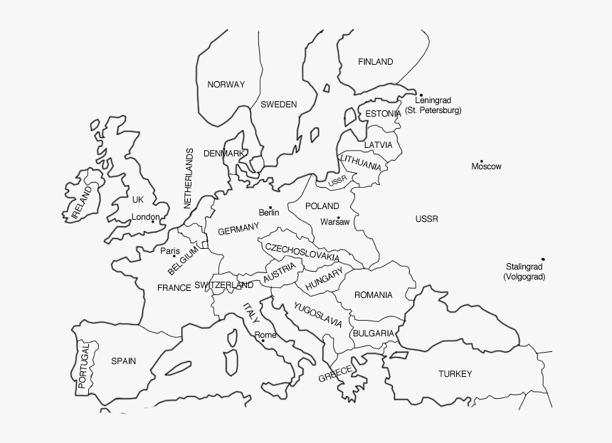 blank map of ww2 europe Ww2 Coloring Map Of Europe, HD Png Download   kindpng