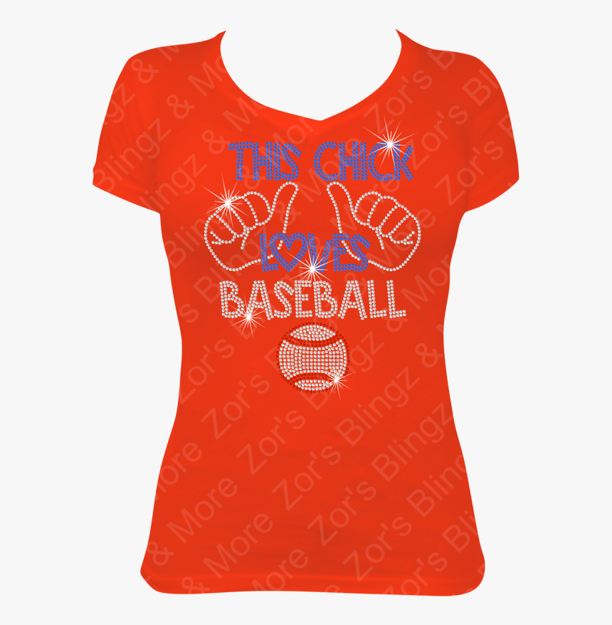 This Chick Loves Baseball Rhinestone Bling T-shirt - T Shirt Design For Teacher, HD Png Download, Free Download