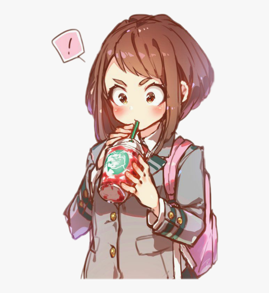 My Hero Academia Uraraka Ochako Starbucks Uraraka Kawaii Hd Png Download Kindpng