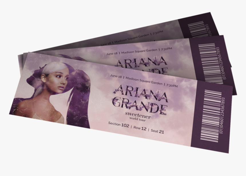 Ticket Mock Up Transparent - Ariana Grande Sweetener Tour Ticket, HD Png Download, Free Download