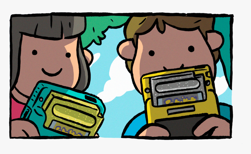 Cover Playing Gameboy - Cartoon, HD Png Download, Free Download