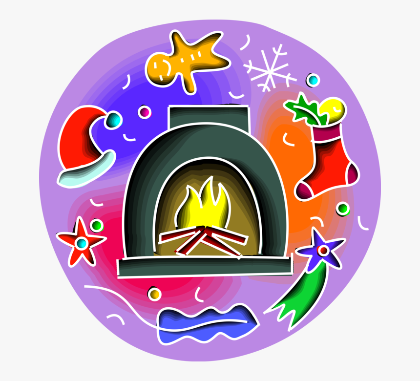 Vector Illustration Of Fireplace Hearth Fire With Christmas, HD Png Download, Free Download