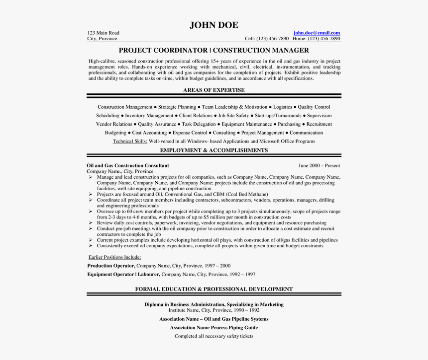 Oil And Gas Cover Letter - Project Engineer Oil And Gas ...