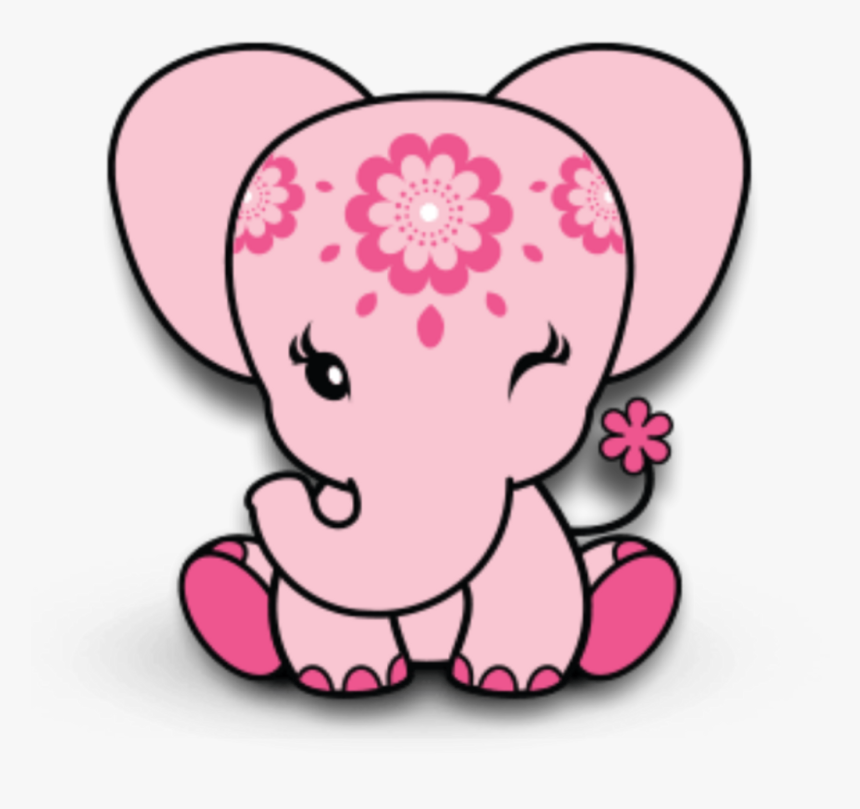Pink Elephant Animals Babyshower Baby Decoration Scrapb Pink Cartoon Baby Elephant Hd Png Download Kindpng