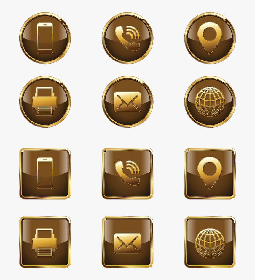 Golden Icons Png Free - Gold Contact Icons Png, Transparent Png, Free Download