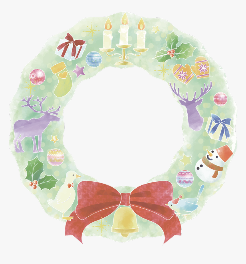 #christmas #wreath #holly #deer #snowman #giftboxs - クリスマス イラスト 水彩 フリー, HD Png Download, Free Download