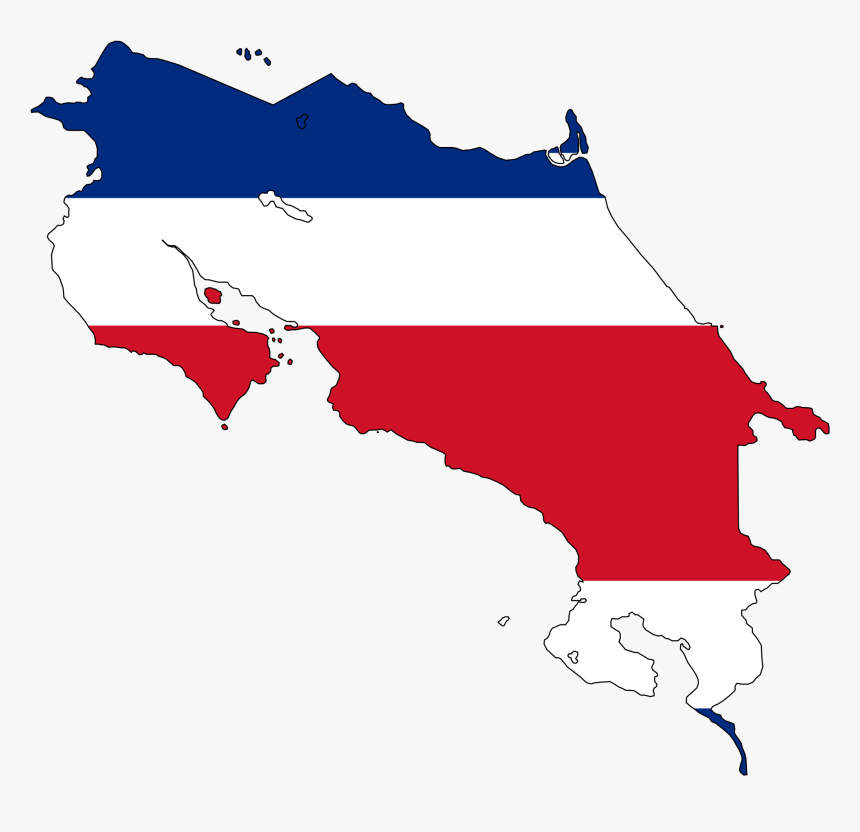 Costa Rica Flag Map Large Map - Costa Rica Flag Map, HD Png Download, Free Download