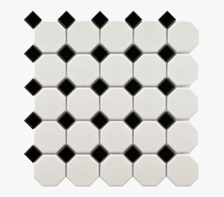 Cc Mosaics Octagon Snow White Black - Floor, HD Png Download, Free Download