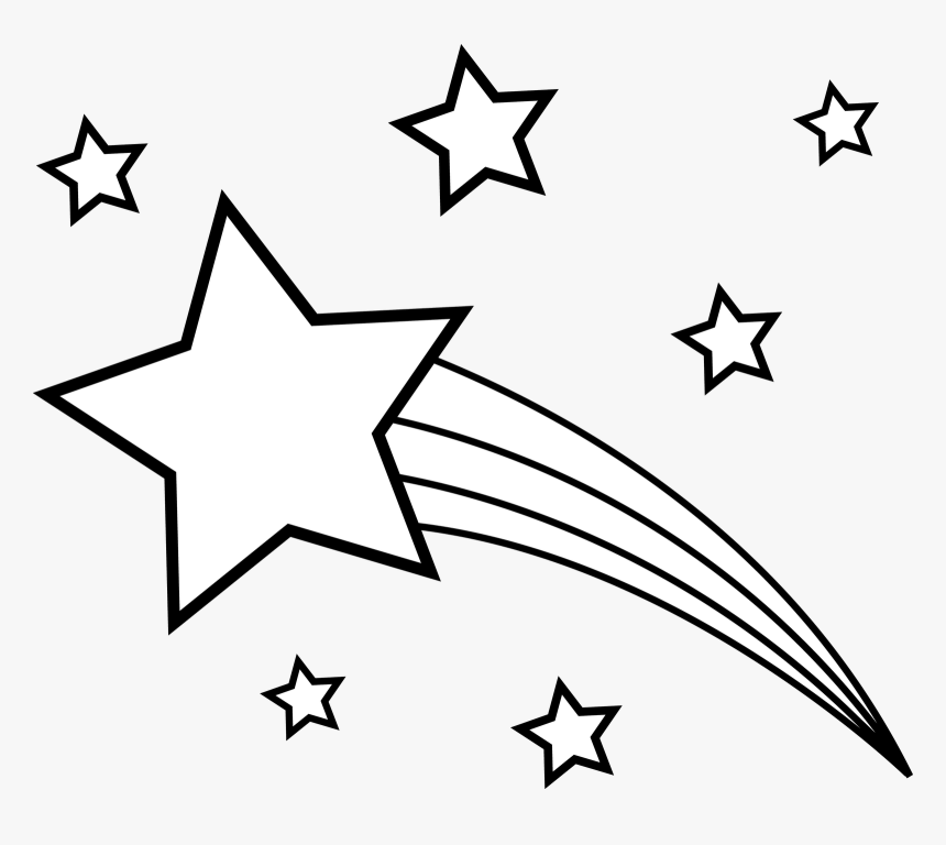 Shooting Star Png - Black And White Shooting Star Star Clip Art, Transparent Png, Free Download