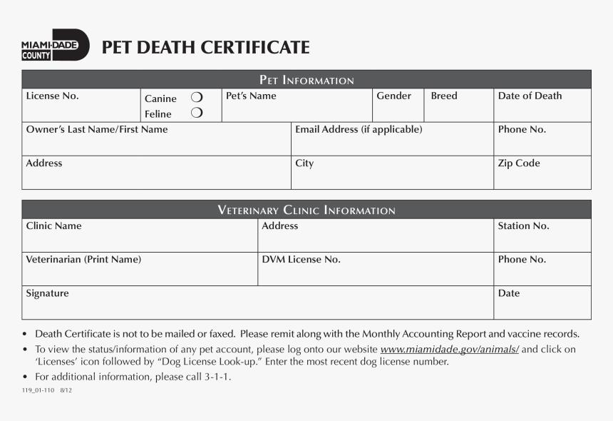 Pet Death Certificate Main Image Download Template - Death Certificate Sample For Dog, HD Png Download, Free Download