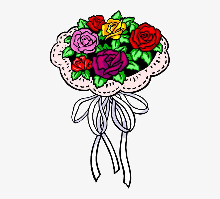 Bouquet Vector Rose Illustration Vector Freeuse Download - Bridal Bouquets Clip Art, HD Png Download, Free Download