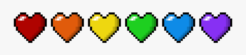 Six Pixel Hearts, Stacked Side By Side, Each Heart - Rainbow Hearts In A Line, HD Png Download, Free Download