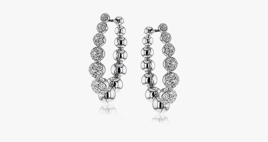 18k White Gold Hoop Earrings The Diamond Shop, Inc - Earrings, HD Png Download, Free Download