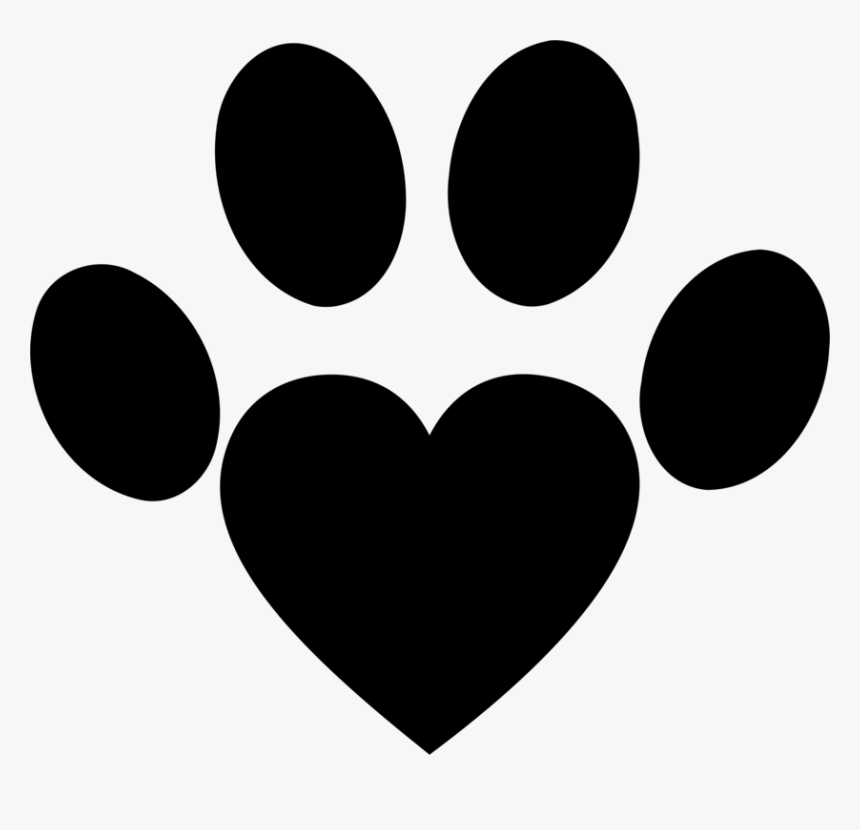 Heart,monochrome Photography,black - Dog Heart Paw Png, Transparent Png, Free Download