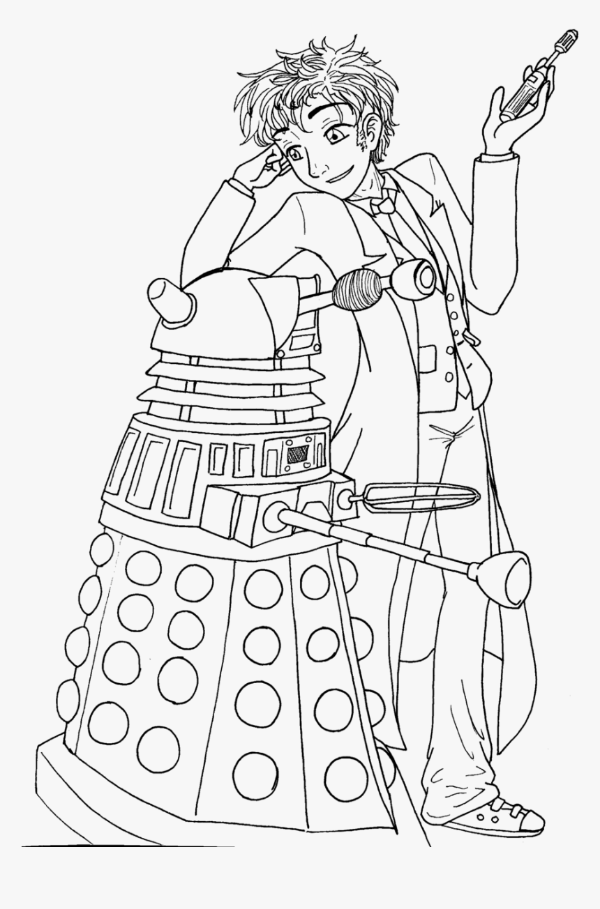 Doctor Who Coloring Pages - Doctor Who Line Art, HD Png Download, Free Download