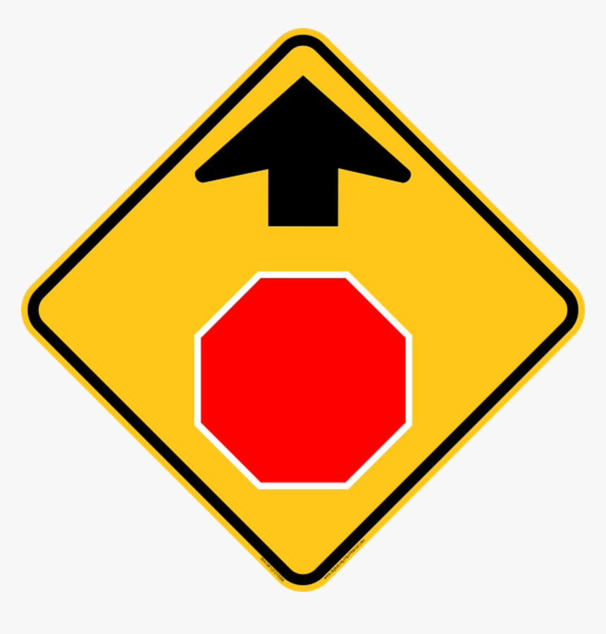Stop Ahead Icon Warning Trail Sign - Stop Sign Ahead Road Sign, HD Png Download, Free Download
