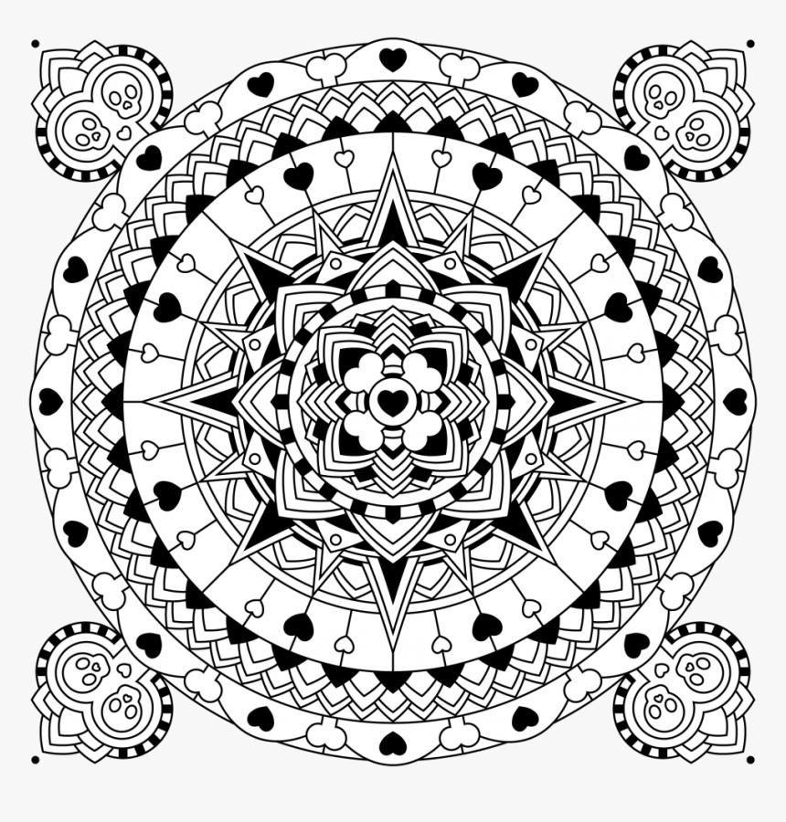 Heart Skull Circle - Mandalas With Hearts And Skulls, HD Png Download, Free Download