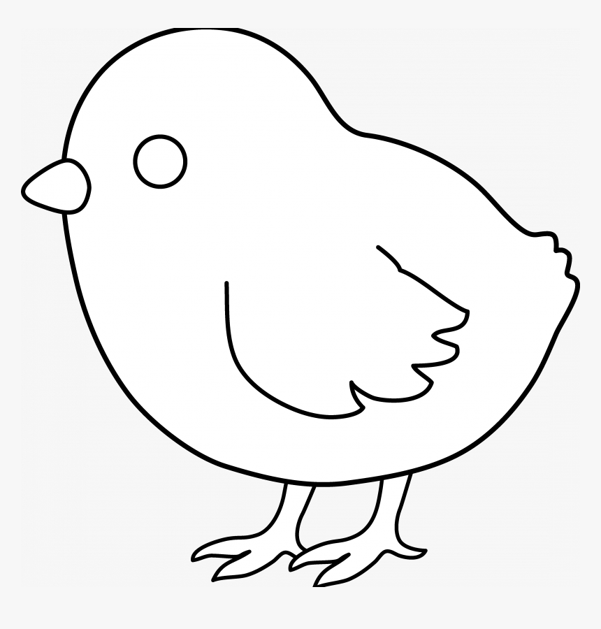 Chick Coloring Pages Cute Baby Chick Coloring Pages - White On Black Chicken Clipart, HD Png Download, Free Download